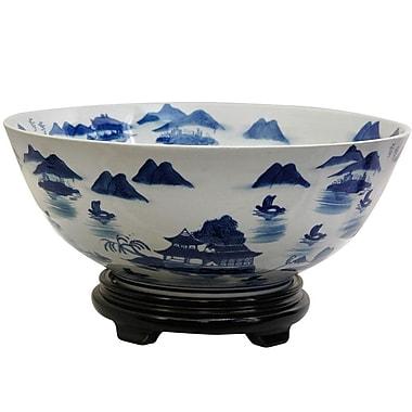 Oriental Furniture Fruit Bowl w/ Blue Landscape Design
