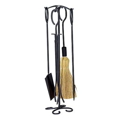 Uniflame 4 Piece Wrought Iron Ring Fireplace Tool Set w/ Stand