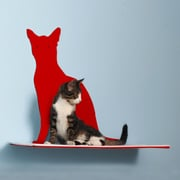 The Refined Feline Silhouette Cat Perch; Red