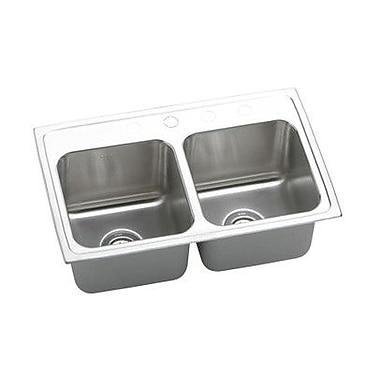 Elkay Lustertone 29'' x 18'' Double Basin Top Mount Kitchen Sink; No Hole