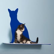 The Refined Feline Silhouette Cat Perch; Blue
