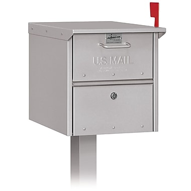 Salsbury Industries Locking Post Mounted Mailbox; Silver