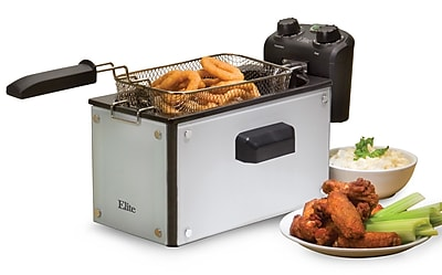 Elite by Maxi-Matic Platinum 3.31 Liter Immersion Deep Fryer w/ Timer; White