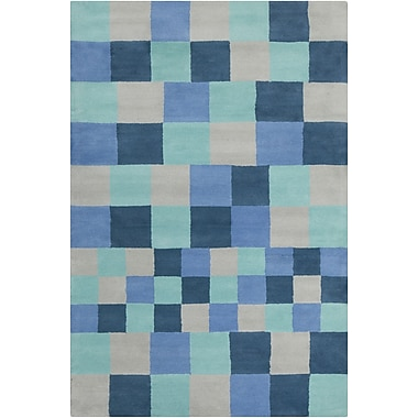 Chandra Stella Patterned Contemporary Blue & Gray Area Rug; 5' x 7'6''
