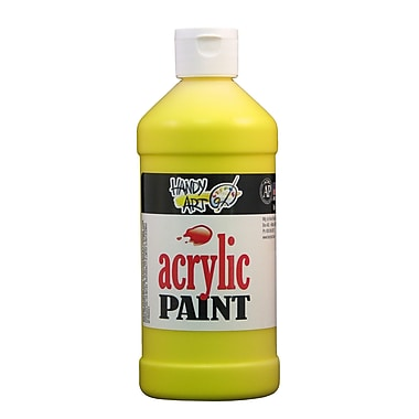 Handy Art 101-010 Acrylic Paint, 16oz, Yellow, 12/Pack