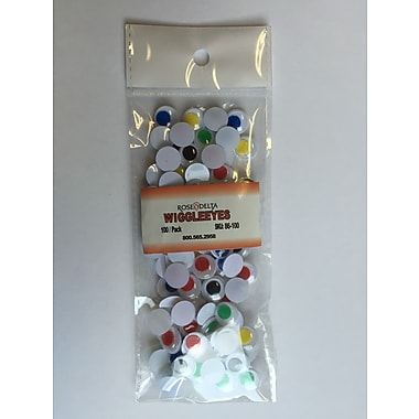Rose 86-100-10 Wiggle Eyes, Assorted Colours, 100/Bag, 10 Bags/Pack