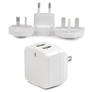 StarTech® Dual-Port USB Wall Charger, International Travel, 17W/3.4A, White