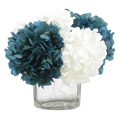 Bougainvillea Cracked Glass Cube; Roses White and Hydrangea Natural Blue & White