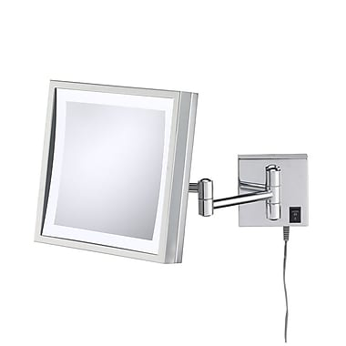 Kimball & Young Single Sided Square 3x Magnification LED Wall Mirror; Chrome