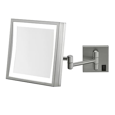 Kimball & Young Single Sided Square 3x Magnification LED Wall Mirror (Hardwired); Brushed Nickel