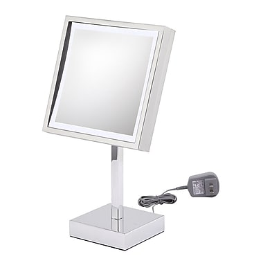 Kimball & Young Single Sided Square Free Standing 3x Magnification LED Mirror; Polished Nickel