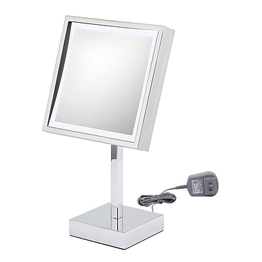 Kimball & Young Single Sided Square Free Standing 3x Magnification LED Mirror; Chrome