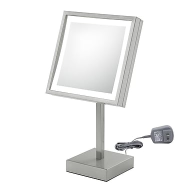 Kimball & Young Single Sided Square Free Standing 3x Magnification LED Mirror; Brushed Nickel