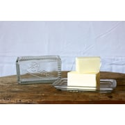 Creative Co-Op Casual Country Pressed Glass Butter Dish
