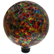 Alpine Mosaic Gazing Globe; Combinational Christmas Colors of Red Green and Go