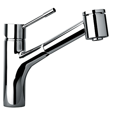 Jewel Faucets J25 Kitchen Series Single Hole Kitchen Faucet w/ Pull Out Spray Head; Polished Chrome