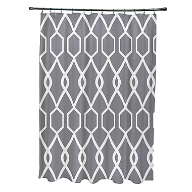 e by design Charleston Geometric Print Shower Curtain; Classic Gray