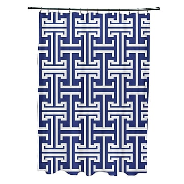 e by design Greek Isles Geometric Print Shower Curtain; Blue Suede