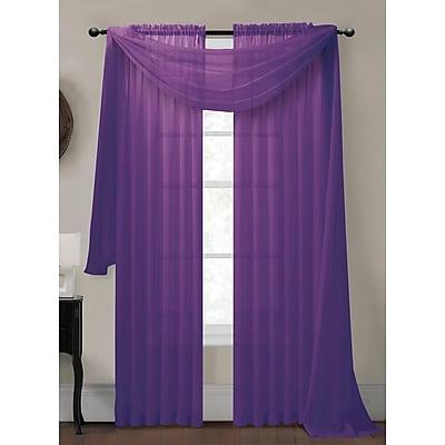Window Elements Diamond Solid Sheer Single Window Scarf; Purple