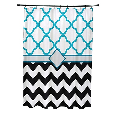 e by design Express Line Geometric Print Shower Curtain; Raven