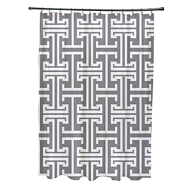 e by design Greek Isles Geometric Print Shower Curtain; Classic Gray