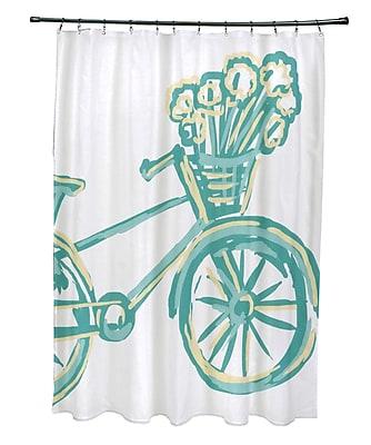 e by design La Bicicleta Print Shower Curtain; Jade