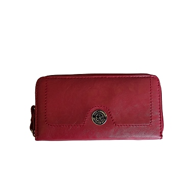 Club Rochelier CL6071-9-RED Zip Around Wallet, Red