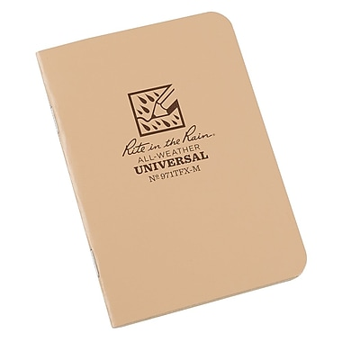 Rite in the Rain 971TFX-M All-Weather Mini-Stapled Notebook, Universal Page Pattern, 3-1/4