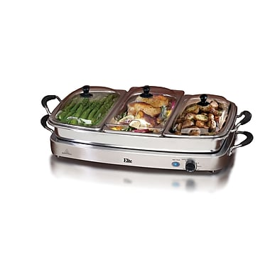 Elite by Maxi-Matic Platinum Deluxe 7.5 Qt. Stainless Steel Electric Buffet Server
