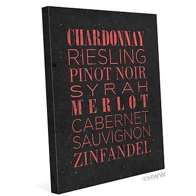 Click Wall Art List Of Wine Textual Art on Wrapped Canvas; 20'' H x 16'' W x 1.5'' D