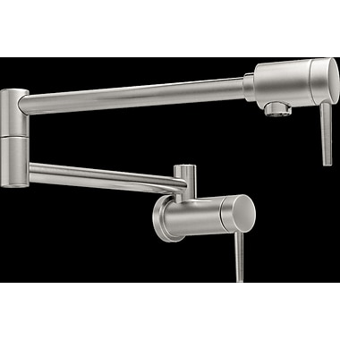 Delta Single Hangle Wall Mount Pot Filler Faucet; Brilliance Stainless