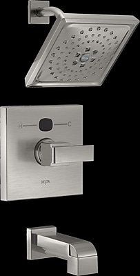 Delta Angular Modern Tub and Shower Faucet Trim; Brilliance Stainless