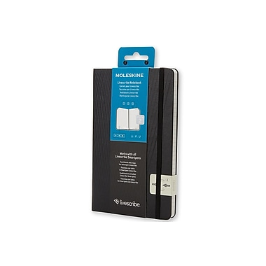 Moleskine – Cahier de notes Livescribe, 5 x 8 1/4 po, grand, noir, couverture rigide