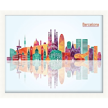 PrestigeArtStudios Barcelona Pop Skyline Framed Graphic Art
