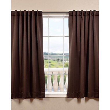 Half Price Drapes Plush Solid Blackout Thermal Rod Pocket Curtain Panels (Set of 2); Java
