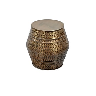 Fashion N You Moroccan Hammered Stool; Anti-Gold