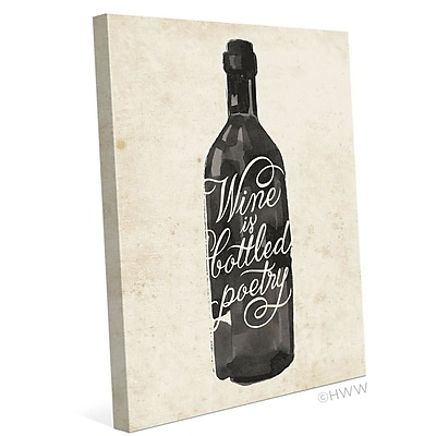 Click Wall Art Wine Is Bottled Poetry Painting Print on Wrapped Canvas; 30'' H x 24'' W x 1.5'' D