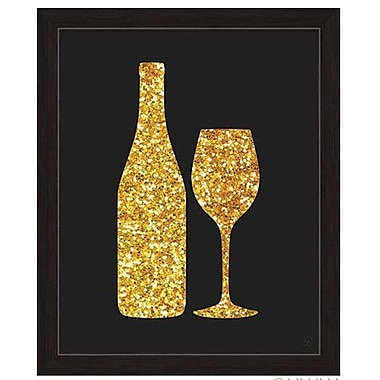 Click Wall Art Sparking Wine And Bottle Silhouette Framed Graphic Art; 33'' H x 23'' W x 1'' D
