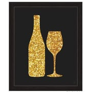 Click Wall Art Sparking Wine And Bottle Silhouette Framed Graphic Art; 13'' H x 11'' W x 1'' D