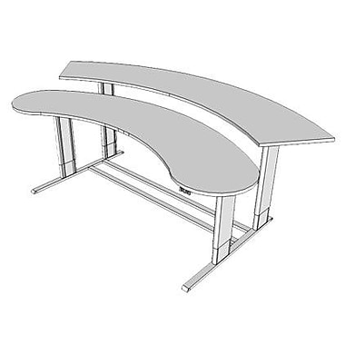 Populas 104'' W Infinity Height Adjustable Computer Table; Dove Gray