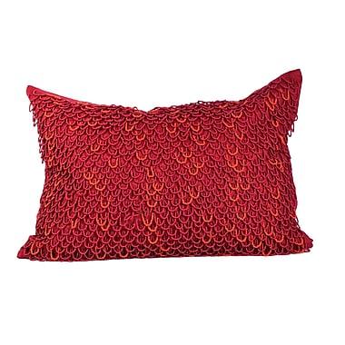 Debage Inc. Crazy Loops Beads Linen Throw Pillow; True Red