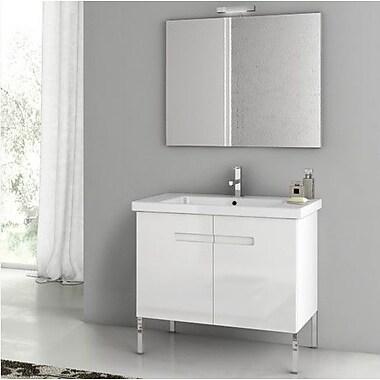 ACF New York 32.3'' Single Bathroom Vanity Set w/ Mirror; Glossy White