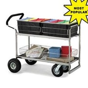 Charnstrom Wire-Basket File Cart w/ Ergonomic Designed Handle; Air Casters / Tires