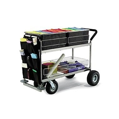 Charnstrom Long Basket File Cart; Air Casters / Tires