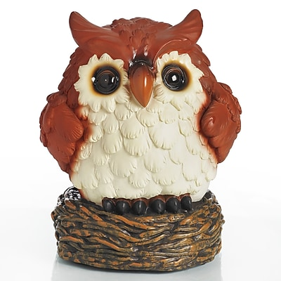 Exhart Glow Anywhere LED Owl Statue; Brown