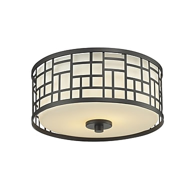 Z-Lite Elea 2-Light Flush Mount; Bronze