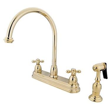 Kingston Brass Restoration Double Handle Kitchen Faucet w/ Brass Spray; Polished Brass
