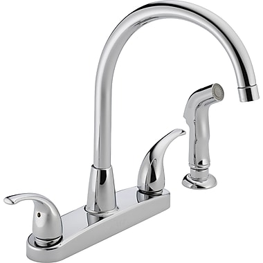 Peerless Faucets Two Handle Centerset Kitchen Faucet w/ Side Spray; Chrome