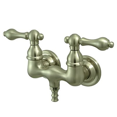 Kingston Brass Vintage Tow Handle Wall Mount Clawfoot Tub Faucet; Satin Nickel