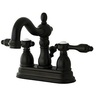 Kingston Brass Tudor Double Handle Centerset Bathroom Faucet w/ ABS Pop-Up; Oil Rubbed Bronze